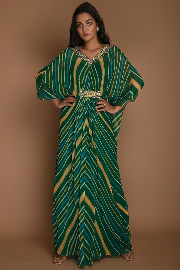 Emerald Green & Yellow Kaftan Tunic With Inner by K-ANSHIKA Jaipur