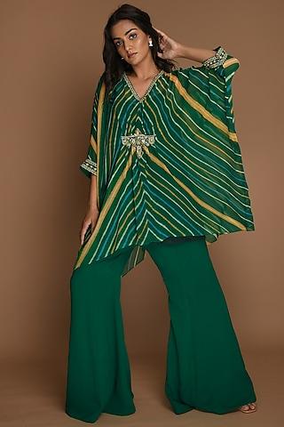 Emerald Green & Yellow Kaftan Set by K-ANSHIKA Jaipur