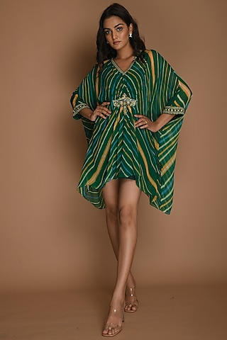 Emerald Green & Yellow Kaftan Top by K-ANSHIKA Jaipur