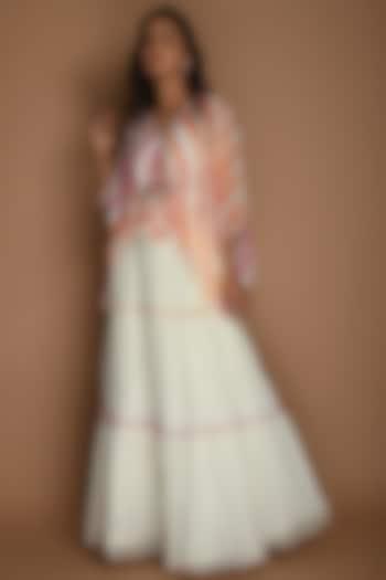 White, Yellow & Pink Skirt Set by K-ANSHIKA Jaipur