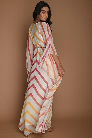 Yellow, Pink & White Kaftan With Belt by K-ANSHIKA Jaipur