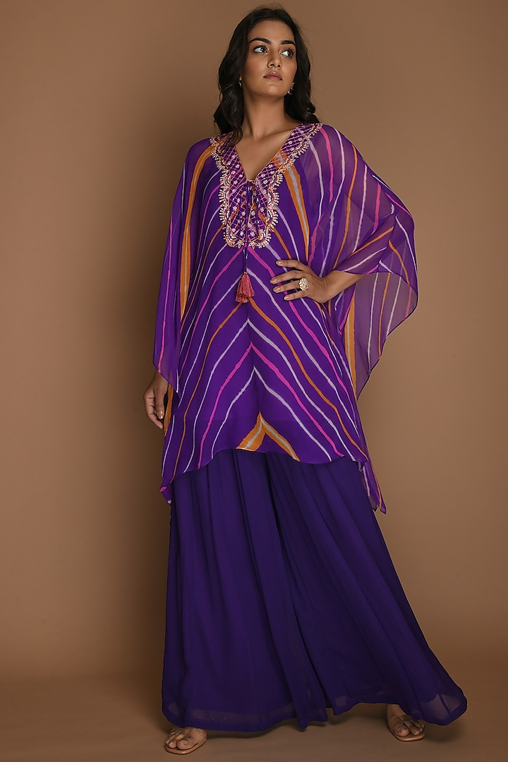 Purple Kaftan Set With Belt by K-ANSHIKA Jaipur
