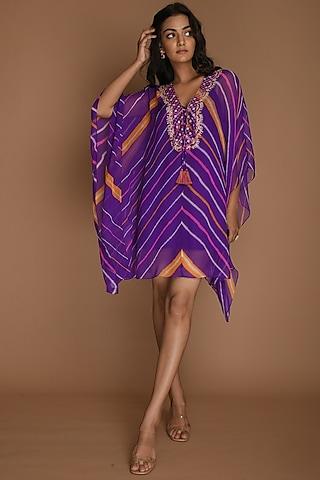 Purple Embellished Kaftan With Inner by K-ANSHIKA Jaipur