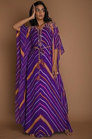 Purple Kaftan With Inner & Belt by K-ANSHIKA Jaipur