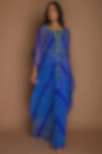 Electric Blue Embellished Kaftan With Inner & Belt by K-ANSHIKA Jaipur