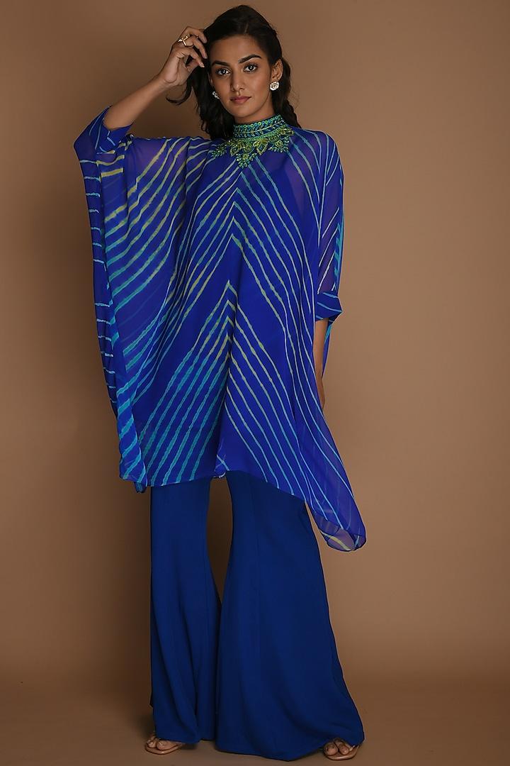 Electric Blue Kaftan Set by K-ANSHIKA Jaipur