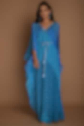 Blue Embellished Kaftan With Inner by K-ANSHIKA Jaipur