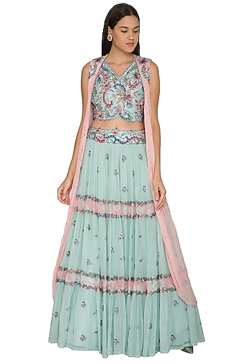 Turquoise Embroidered Jacket Lehenga Set by K-ANSHIKA Jaipur