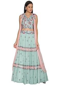 Turquoise Embroidered Jacket Lehenga Set by K-ANSHIKA Jaipur