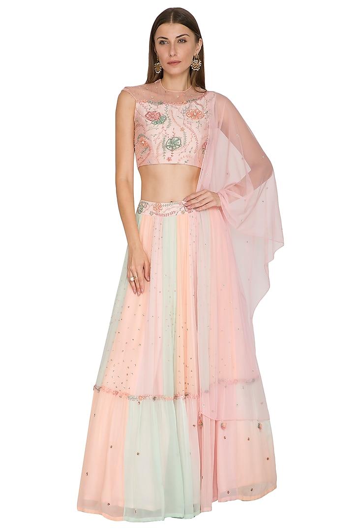 Blush Pink Embroidered Lehenga Set by K-ANSHIKA Jaipur