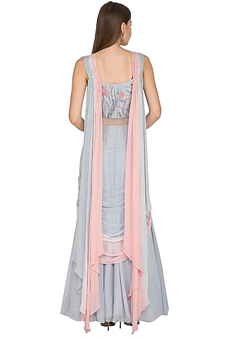 Grey Embroidered Draped Saree by K-ANSHIKA Jaipur