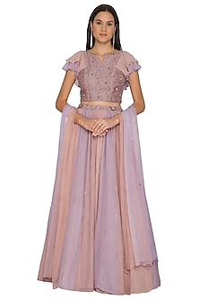 Mauve Paneled Embroidered Lehenga Set by K-ANSHIKA Jaipur