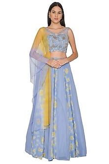 Sky Blue Embroidered Lehenga Set by K-ANSHIKA Jaipur