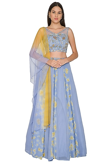Sky Blue Embroidered Lehenga Set by K-ANSHIKA Jaipur