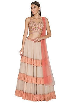 Nude Embroidered Frilled Lehenga Set by K-ANSHIKA Jaipur