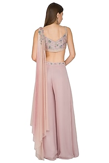 Beige Embroidered Bustier With Palazzo Pants & Attached Dupatta by K-ANSHIKA Jaipur