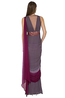Wine Embroidered Saree Gown by K-ANSHIKA Jaipur