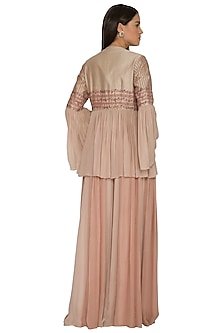 Nude Embroidered Jacket With Palazzo Pants by K-ANSHIKA Jaipur