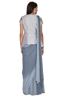 Grey Embroidered Pre-Stitched Saree With Jacket by K-ANSHIKA Jaipur