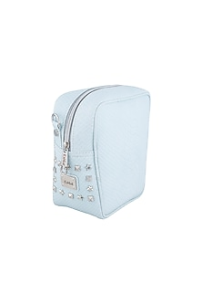 Powder Blue Embellished Cross Body Bag by KNGN