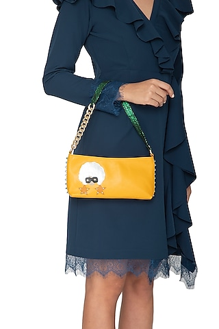 Yellow Handcrafted Shoulder Bag by KNGN