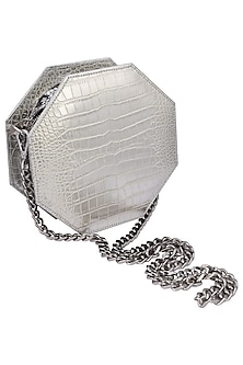 Silver queenie clutch bag by KNGN