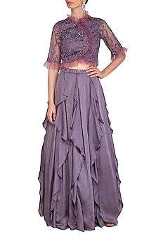 Dusty Violet Ruffled Skirt With Embellished Blouse by K-ANSHIKA Jaipur