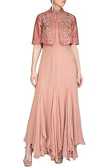 Dusty Peach Asymmetrical Dress With Embellished Jacket by K-ANSHIKA Jaipur