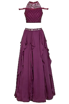Wine Ruffled Skirt With Embellished Blouse by K-ANSHIKA Jaipur