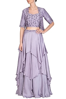 Lilac Embroidered Lehenga Set With Jacket by K-ANSHIKA Jaipur