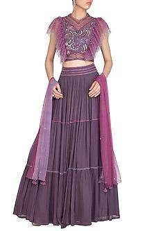 Purple Embroidered Tiered Lehenga Set by K-ANSHIKA Jaipur