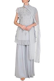 Grey Embellished Ruffled Sharara Set by K-ANSHIKA Jaipur