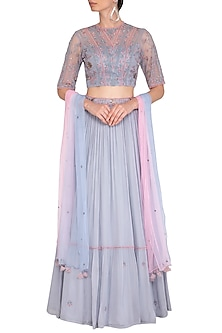 Lilac Embroidered Lehenga Set by K-ANSHIKA Jaipur