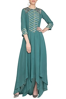 Teal Embroidered Asymmetric Tunic by K-ANSHIKA Jaipur