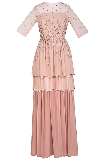 Dusty Peach Embroidered Peplum Top With Skirt by K-ANSHIKA Jaipur