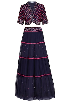 Navy Blue Embellished Lehenga Set by K-ANSHIKA Jaipur