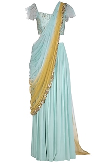 Aqua Embroidered Drape Lehenga Set by K-ANSHIKA Jaipur