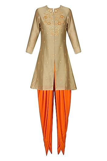 Dark Beige Gota Patti Short Kurta with Rust Orange Dhoti Pants by K-ANSHIKA Jaipur
