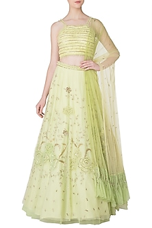 Lime Green Embroidered Frill Lehenga Set by K-ANSHIKA Jaipur