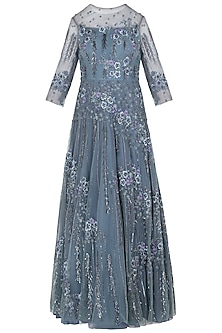 Ice Blue Asymmetrical Embellished Gown by K-ANSHIKA Jaipur