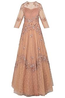 Peach Embellished Asymmetrical Gown by K-ANSHIKA Jaipur