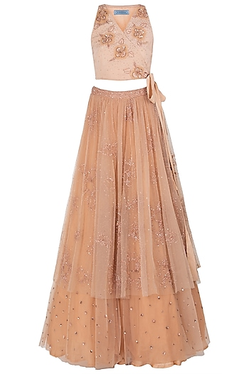 Peach Embroidered Lehenga Set by K-ANSHIKA Jaipur