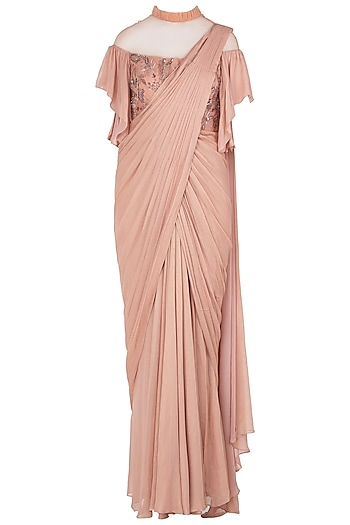 Peach Asymmetrical Embroidered Saree Gown by K-ANSHIKA Jaipur