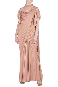 Peach Asymmetrical Embroidered Saree Gown by K-ANSHIKA Jaipur