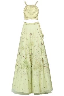Lime Green Embroidered Lehenga Set by K-ANSHIKA Jaipur