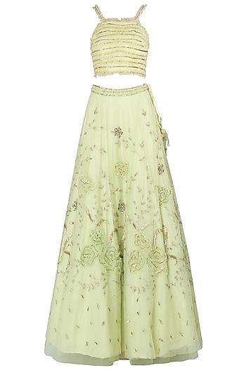 Lime Green Embroidered Lehenga Set by K-ANSHIKA Jaipur