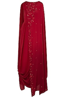Maroon Embellished Cowl Dress by K-ANSHIKA Jaipur