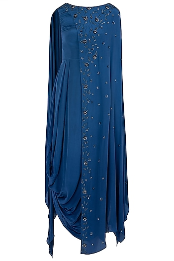 Indigo Blue Embellished Cowl Dress by K-ANSHIKA Jaipur