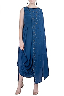 Indigo Blue Embellished Cowl Dress by K-ANSHIKA Jaipur