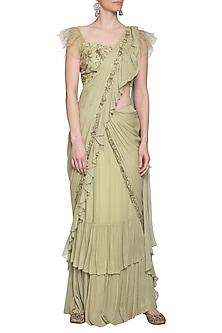 Pistachio embroidered saree set by K-ANSHIKA Jaipur